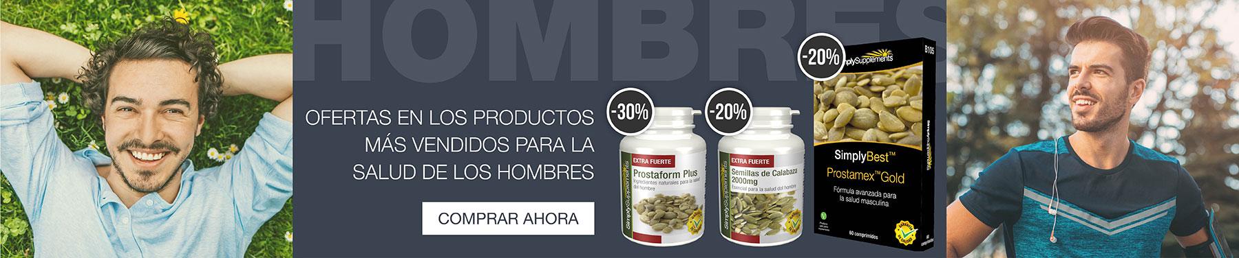 Ofertas en los productos más vendidos para la salud de los hombres.